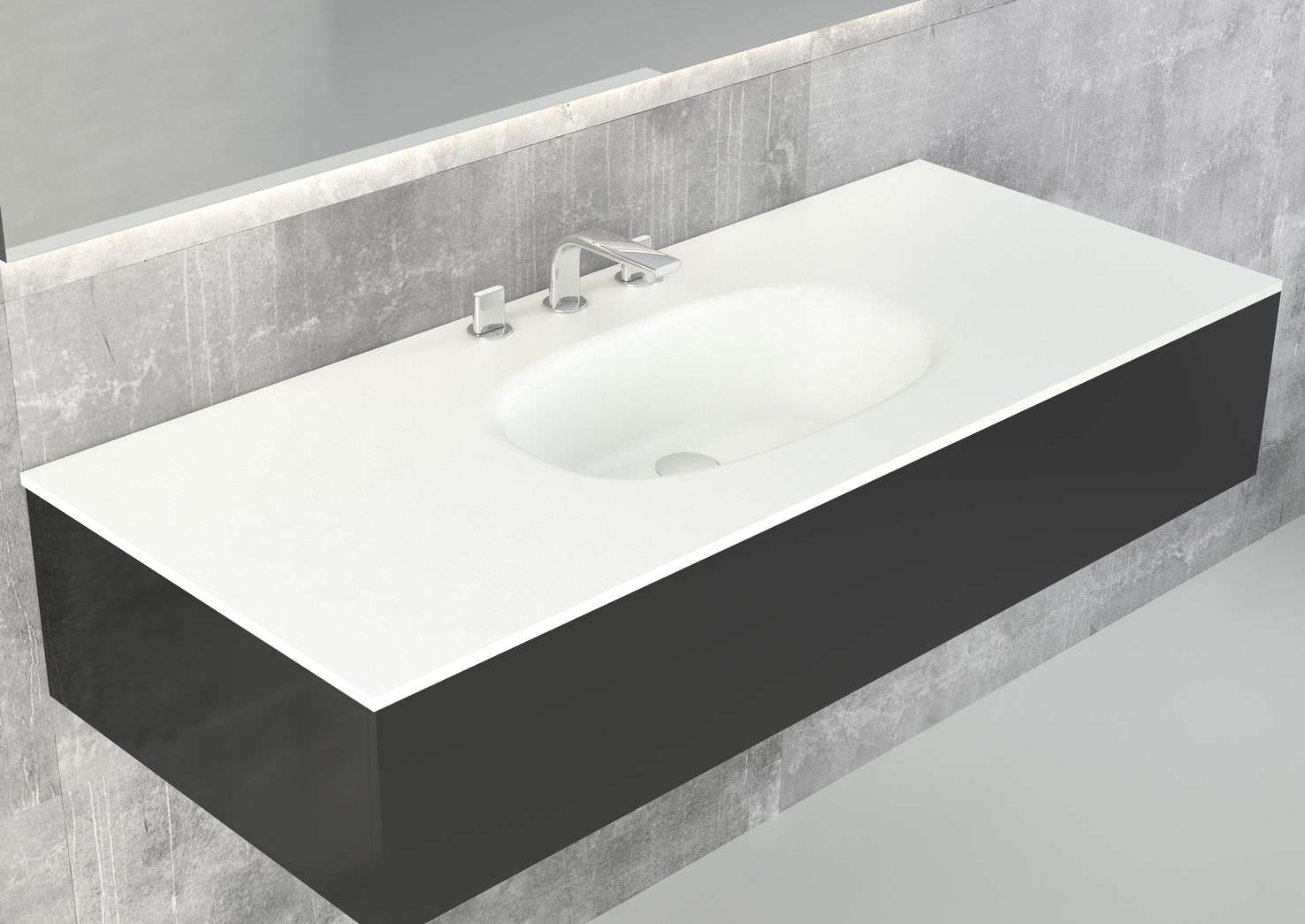 Vasque à encastrer / ovale / en Solid Surface / contemporaine ...
