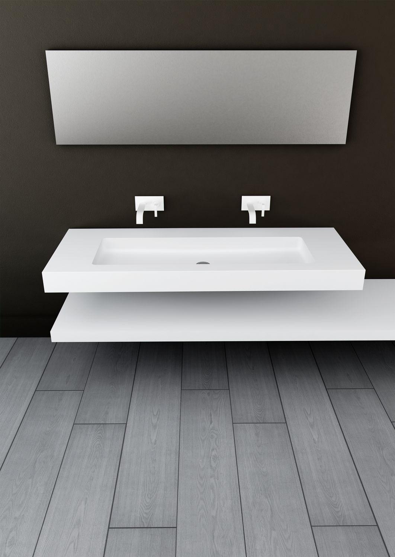 Carrelage Salle De Bain Showroom ~ Vasque Suspendue Rectangulaire En Solid Surface Contemporaine