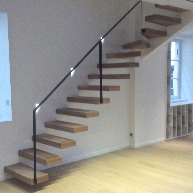 Escalier Sans Contremarche escalier quart tournant / marche en bois / sans contremarche