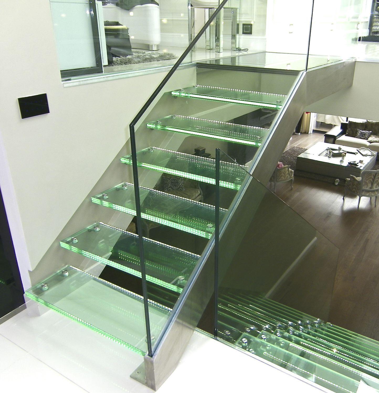 Escalier Droit Sans Rampe avec escalier droit / marche en verre / structure en acier inoxydable