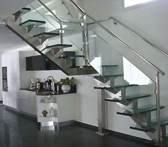 escalier quart tournant verre
