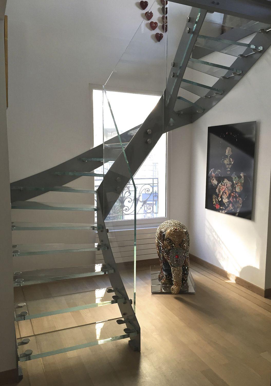 Escalier Droit Sans Rampe à escalier demi-tournant / marche en verre / structure en acier / sans