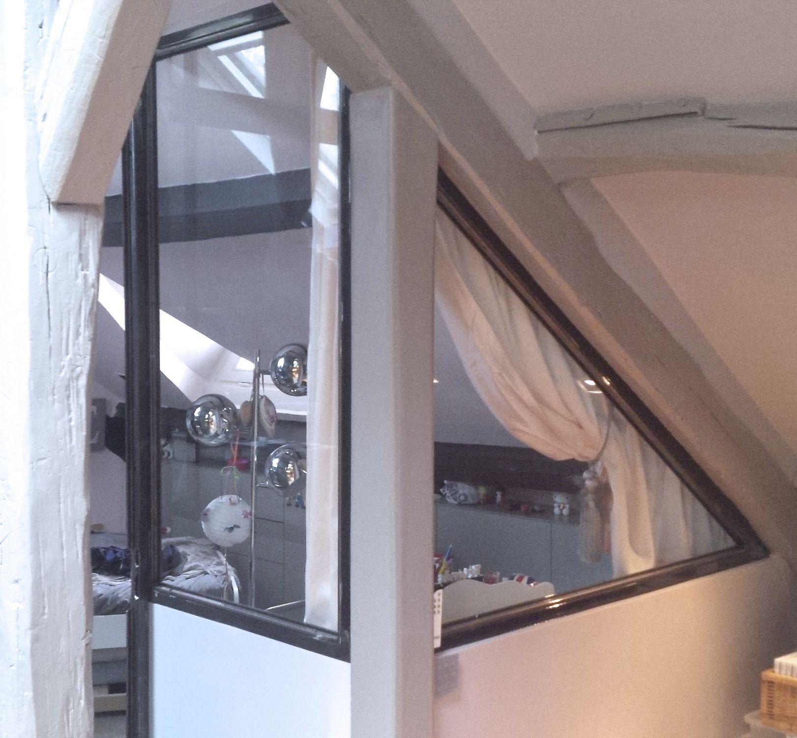 cloison fixe / en acier / résidentielle - verriÈre acier brut et