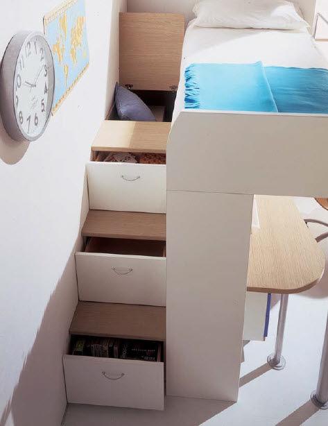 Lit Mezzanine Contemporain Avec Bureau Pour Enfant Unisexe