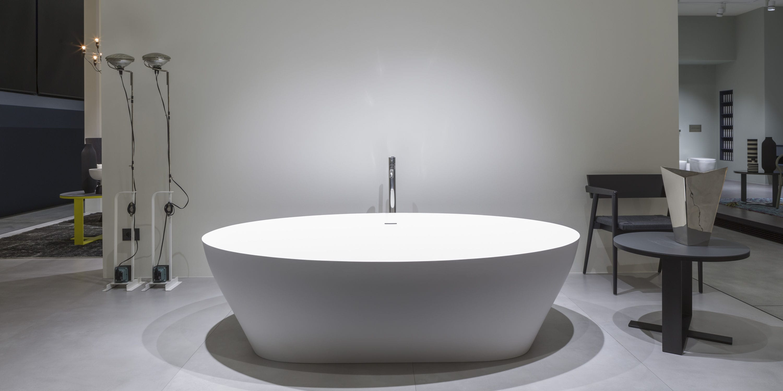 baignoire à poser / ovale / en marbre / en plastique - solidea