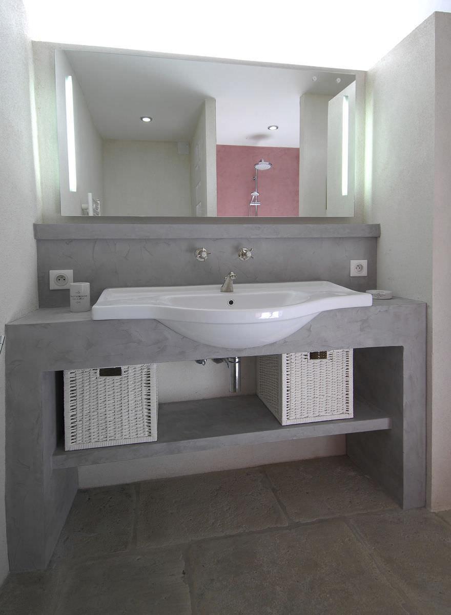Meuble Salle De Bain Double Vasque Effet Beton ~ meuble vasque double poser en ciment contemporain rouviere