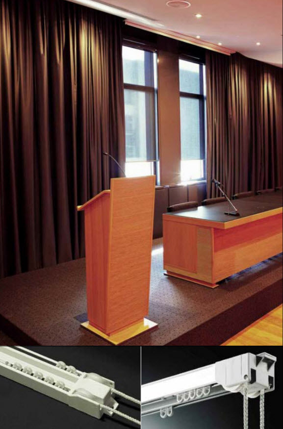 Rail à rideaux avec actionnement par drisse / fixation plafond ...