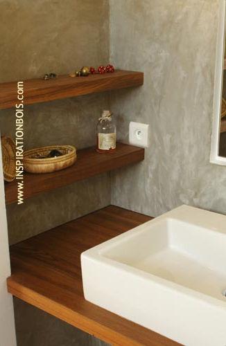 tagre murale contemporaine en bois de salle de bain 1 - Etagere Salle De Bain Murale
