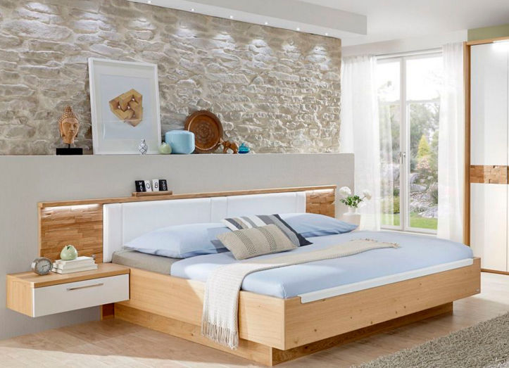 lit double   contemporain   avec tête de lit tapissée   avec tables de  chevet intégrées ... d0d3b398d3d9