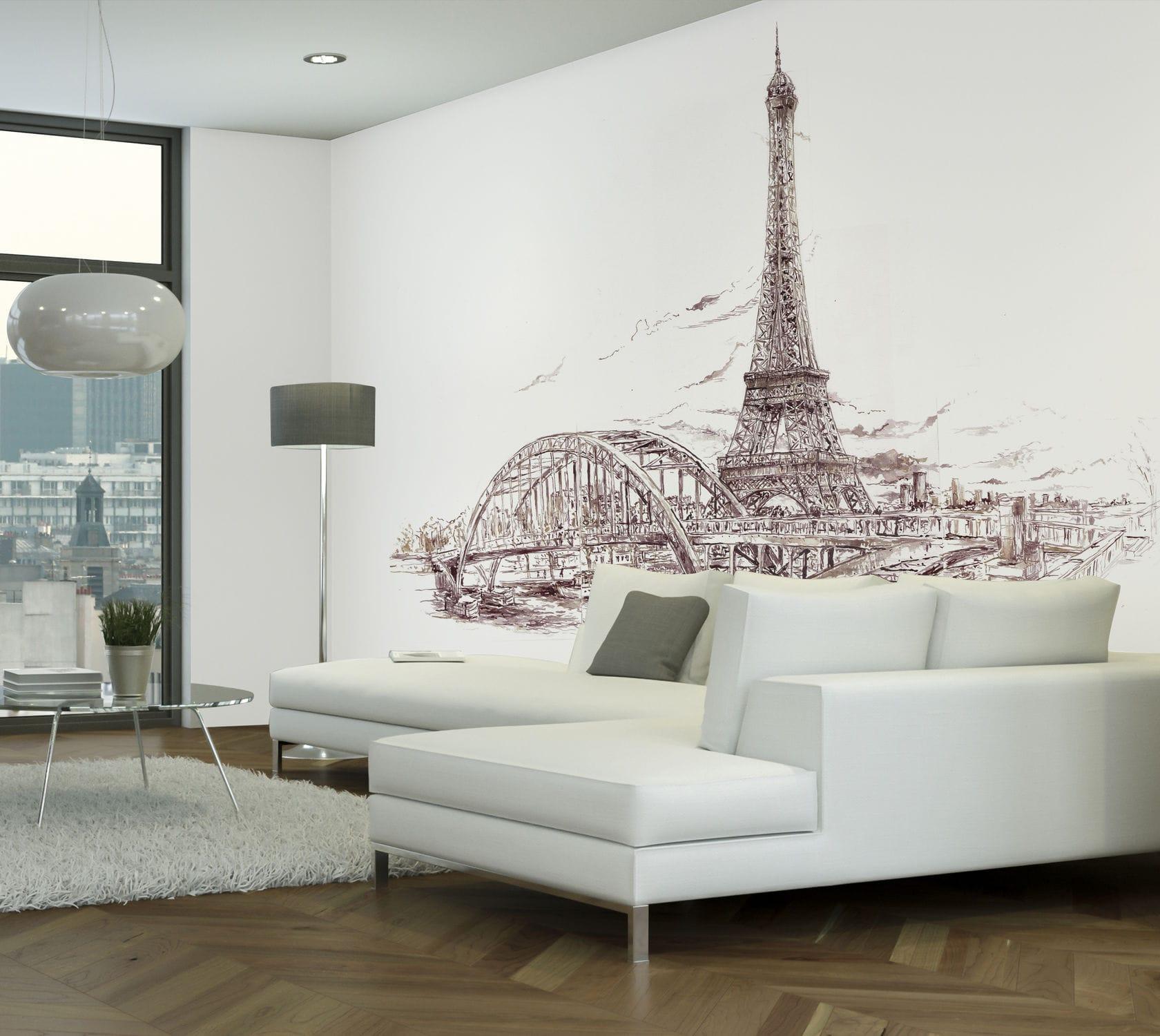 Papier Peint Design Original Croquis Imprime Paris Tour Eiffel