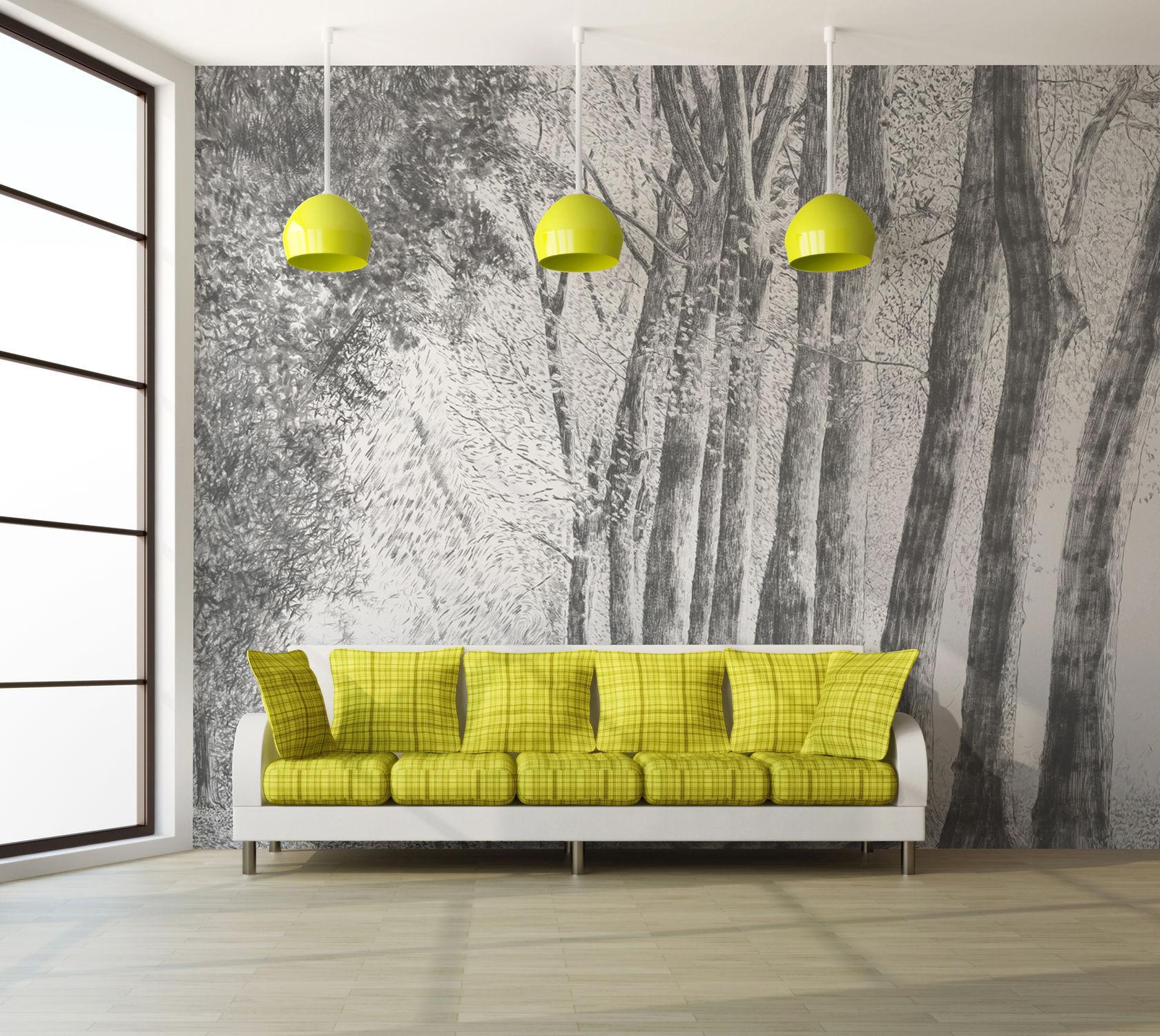 Papier Peint Design Original / à Motif Nature   D219C FORET AU CRAYON GRIS