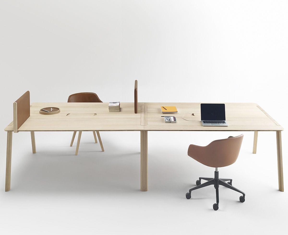 Bureau poste de travail en bois en cuir contemporain heldu