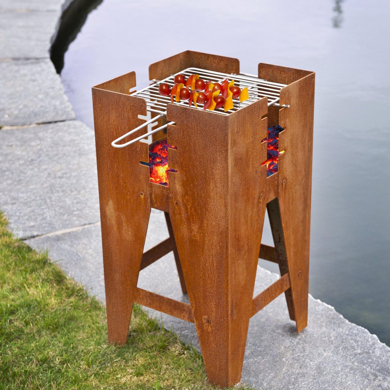 Brasero de jardin à bois / en acier / contemporain / avec barbecue ...