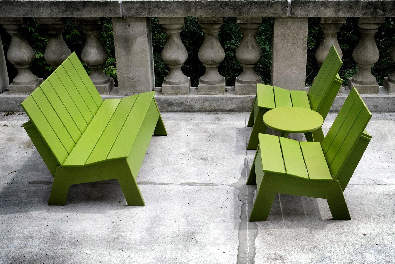 banc public / de jardin / contemporain / en plastique recyclé