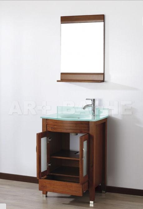 Meuble Vasque à Poser En Bois En Verre Classique Alba 24