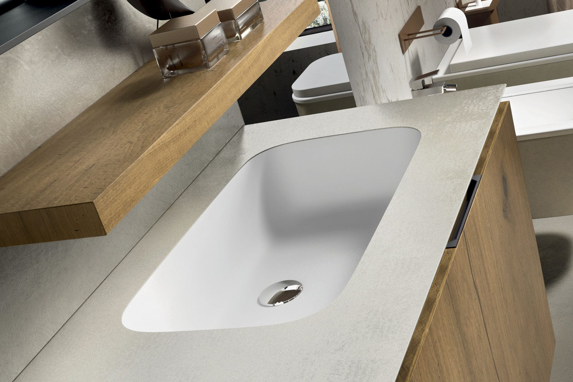 Vasque à encastrer / rectangulaire / en résine / en Corian ...