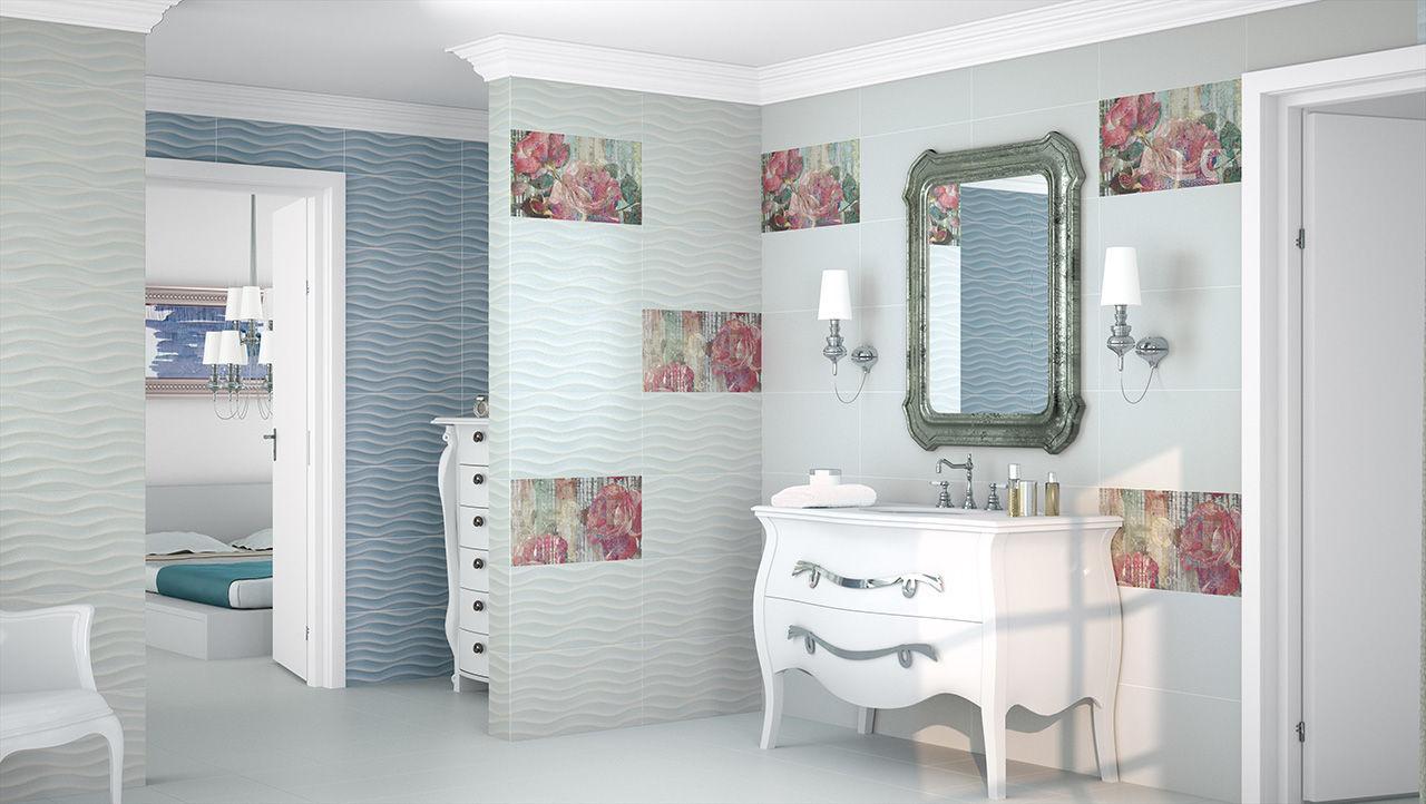 carrelage de salle de bain / de sol / en grès cérame / brillant