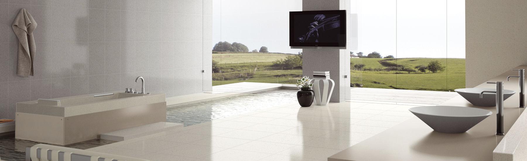 Carrelage de salle de bain / au sol / en marbre / uni - BLANCO ...