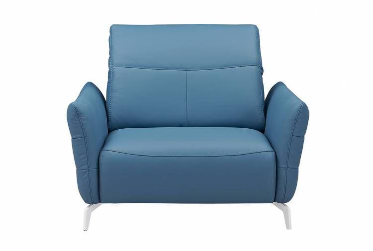 Fauteuil contemporain en cuir inclinable bleu LIVEA GAUTIER