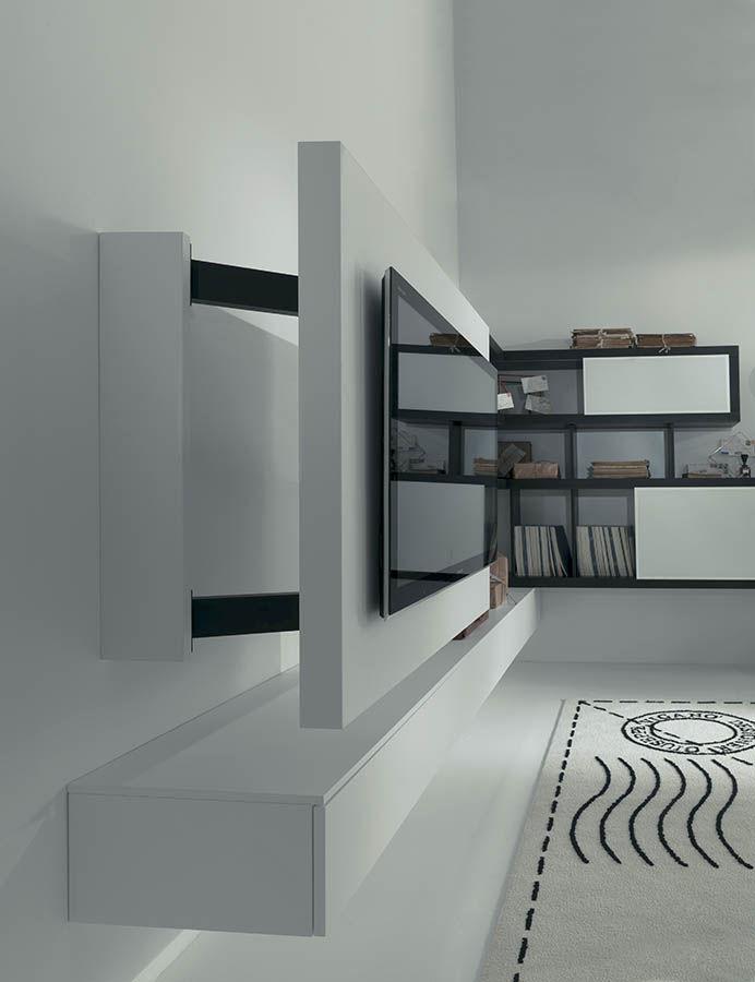 Préférence Support TV mural contemporain / pivotant / en bois laqué - FREE  MZ85