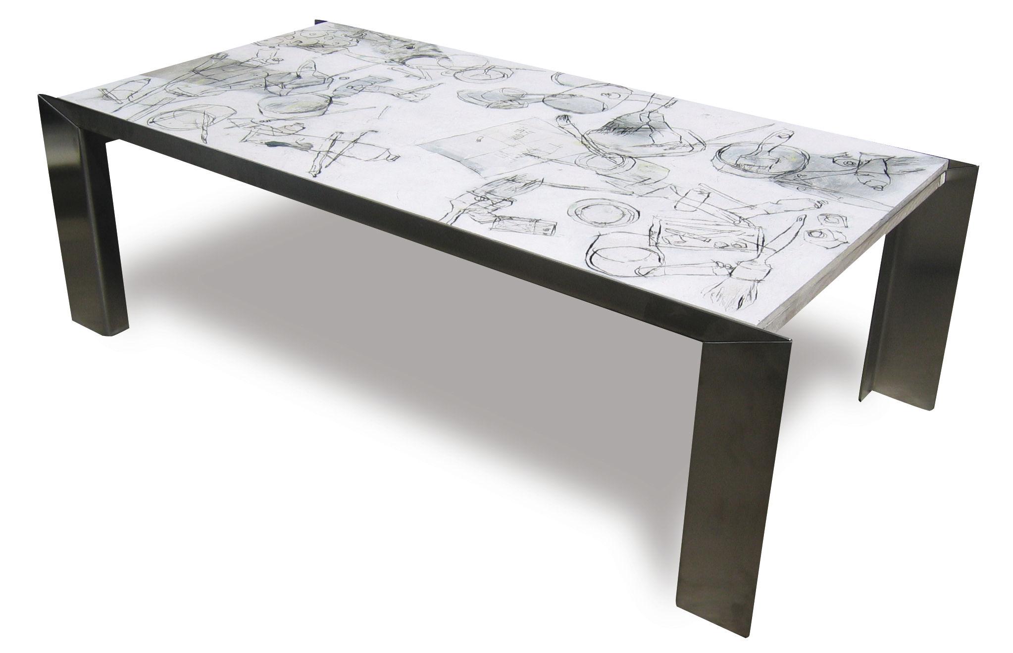 Table Bois Inoxydable Peint Acier En Basse Contemporaine tCxsdQrh