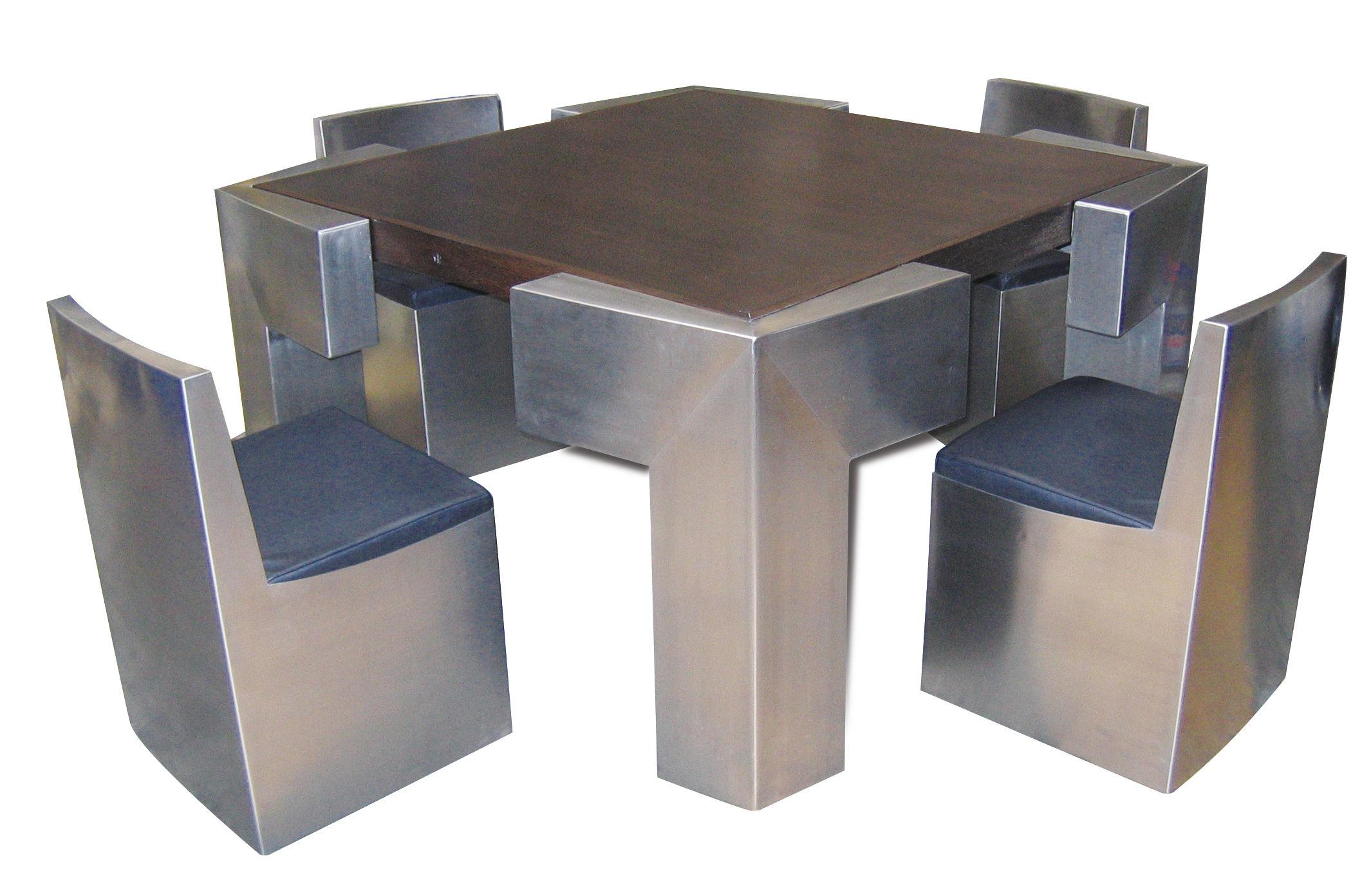 Ensemble Table Et Chaises Design Original En Bois Acier Inoxydable Pour Intrieur