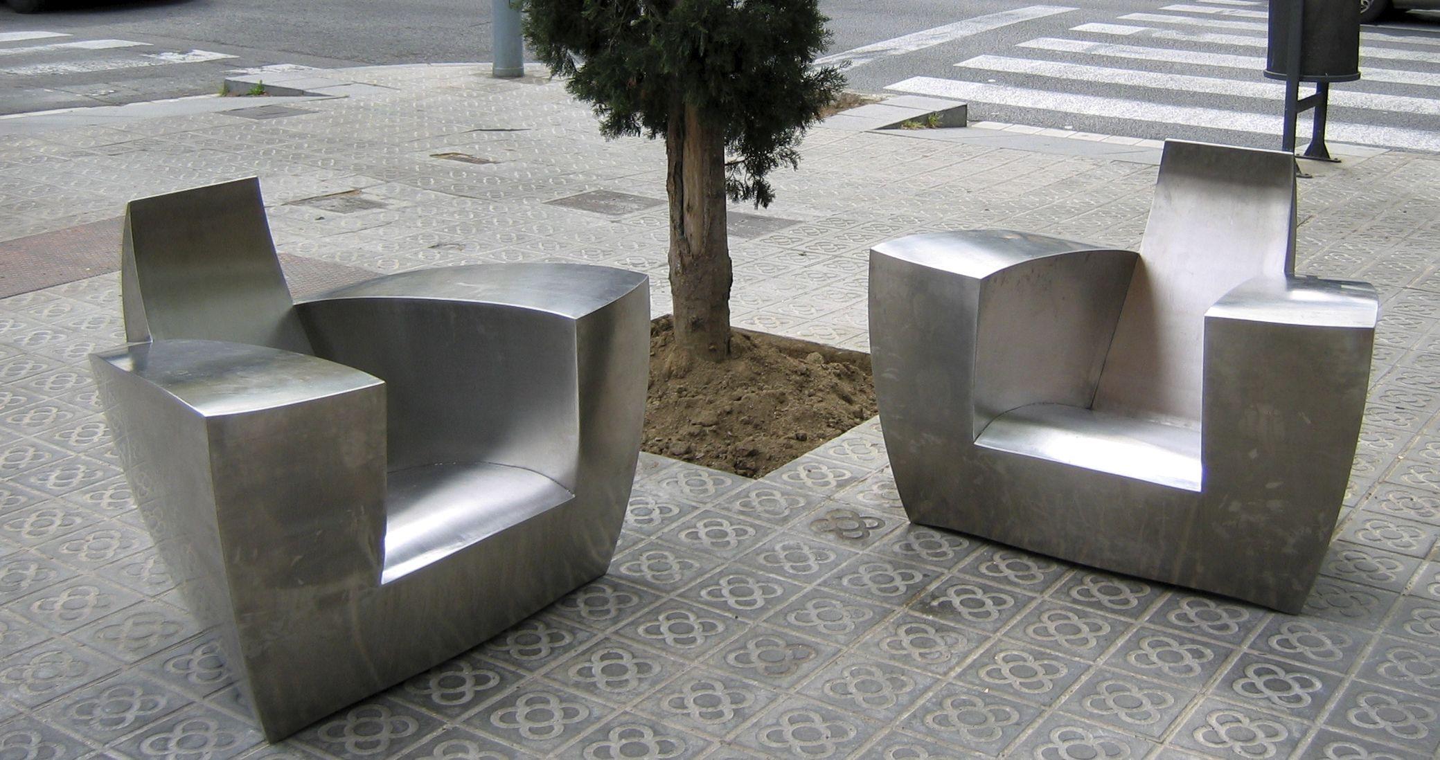 Fauteuil design original / en acier inoxydable / club / de jardin ...
