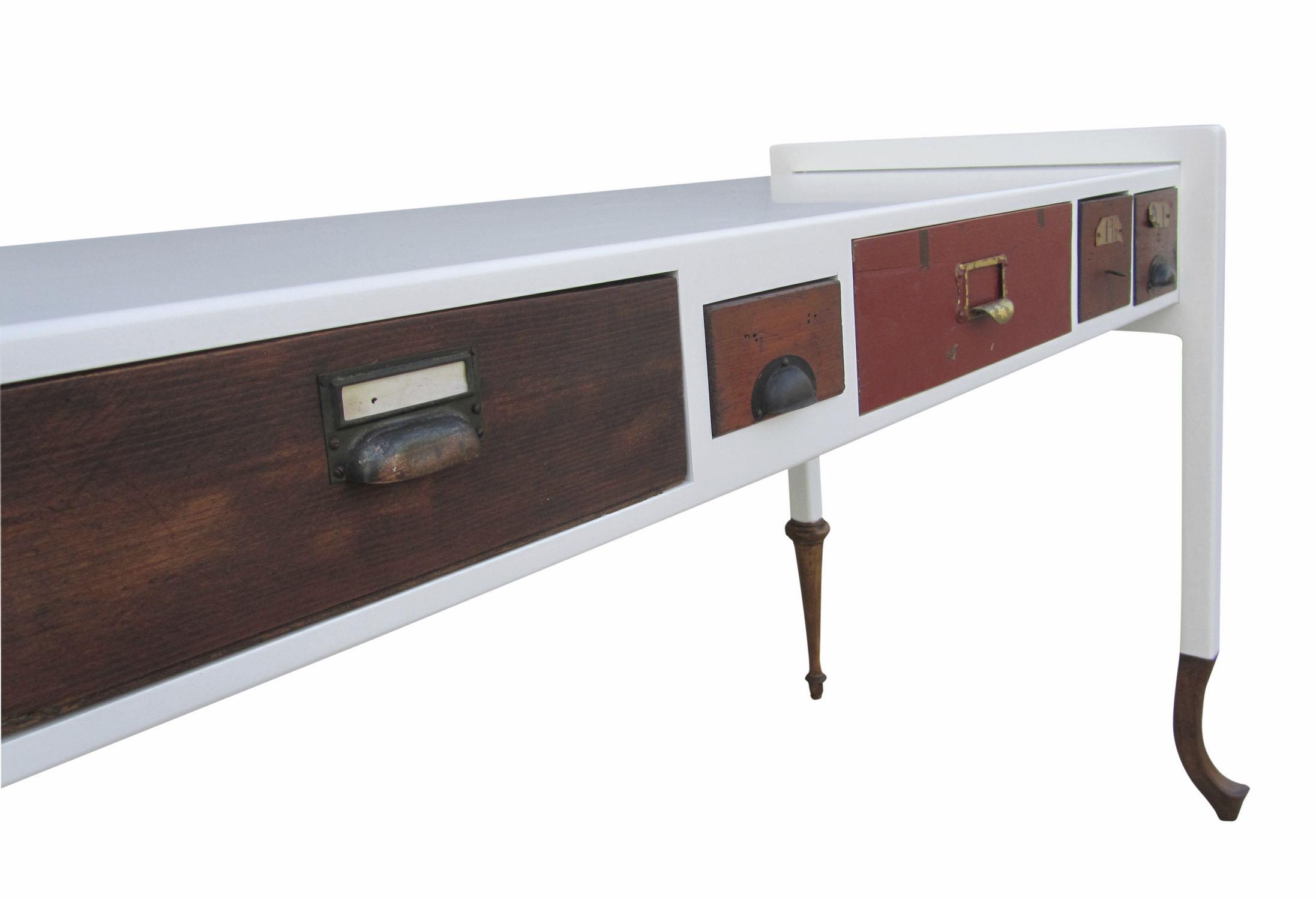 Bureau en chêne en bois laqué design original sur mesure