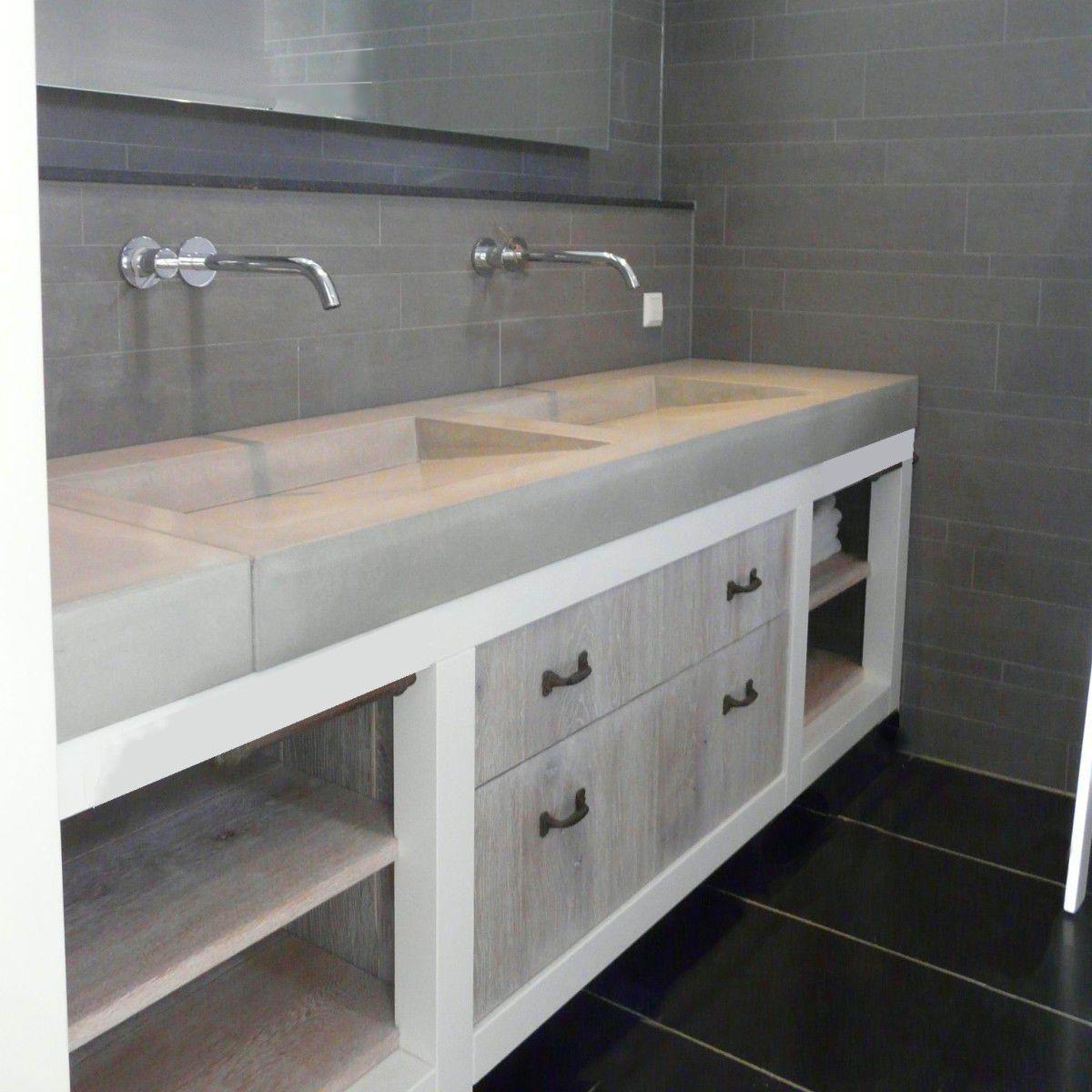 Plan vasque double / en béton bfuhp Ductal® - INTENSITE DU GRIS ...