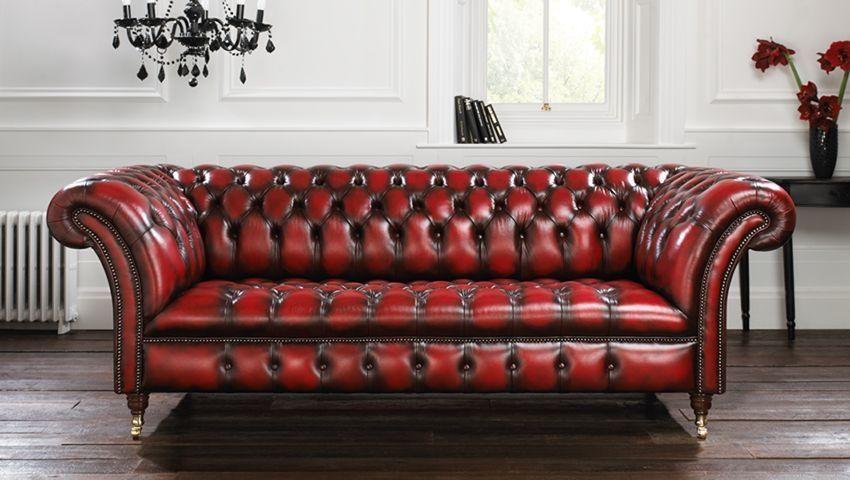 canap de style chesterfield en cuir 3 places rouge blenheim - Canape Chesterfield Rouge Cuir