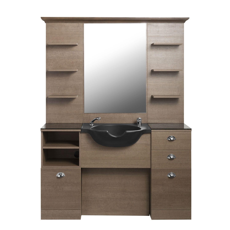 Meuble vasque à poser / en bois / contemporain / avec miroir ...