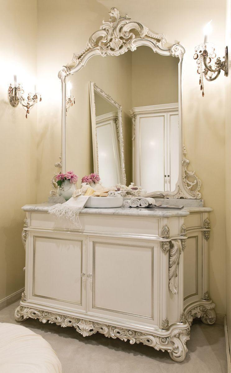 Meuble de salle de bain classique / en bois / avec miroir ...