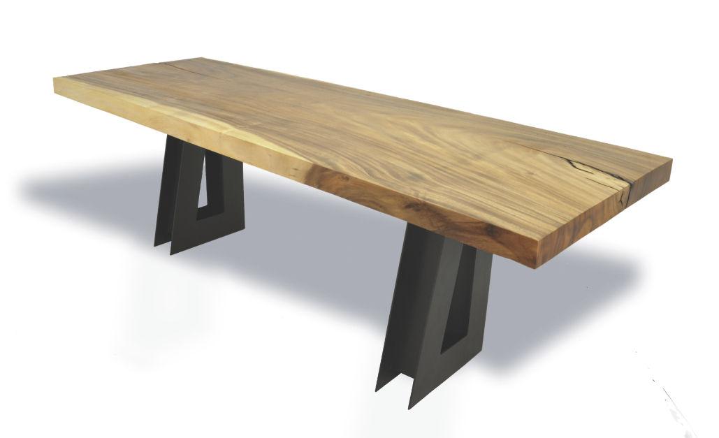 Bureau en bois contemporain single tamburil slab rotsen