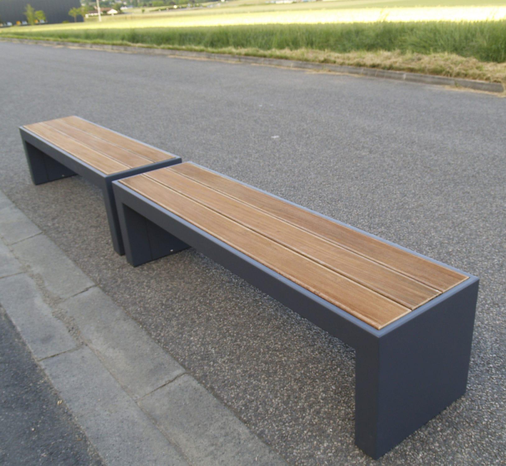 Banc public de jardin contemporain en bois BANCS SUR