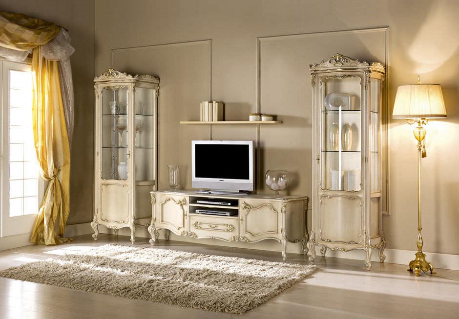 Meuble de télévision design nouveau baroque en bois BAROQUE