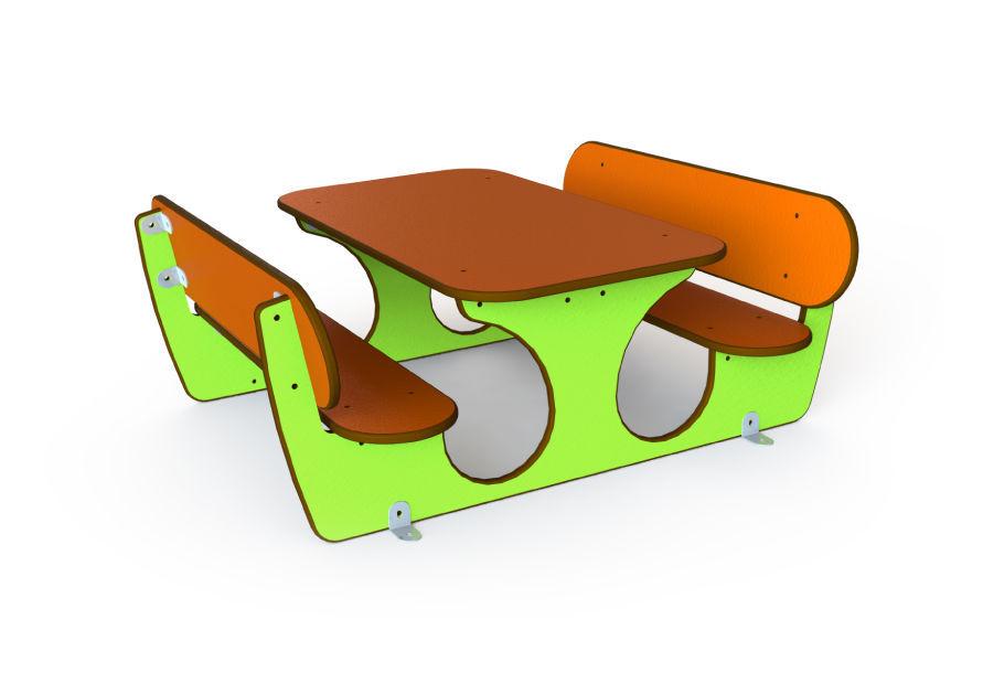 Ensemble Table Et Bancs Contemporain En Hpl Pour Enfant
