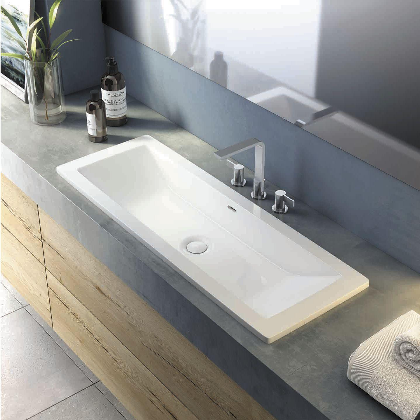 Vasque à encastrer / rectangulaire / en résine / en pierre ...