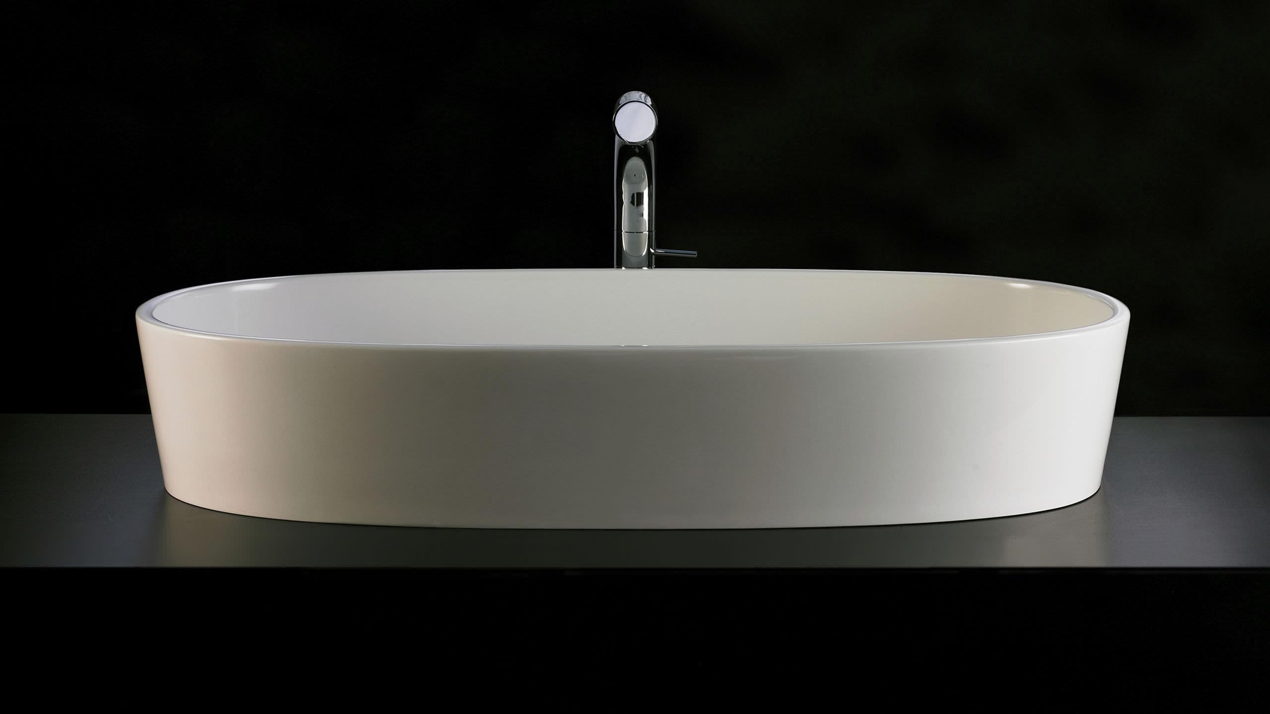 Vasque Ovale A Poser #14: ... Vasque à Poser / Ovale / En Résine / En Pierre Calcaire IOS 80 Victoria  + ...