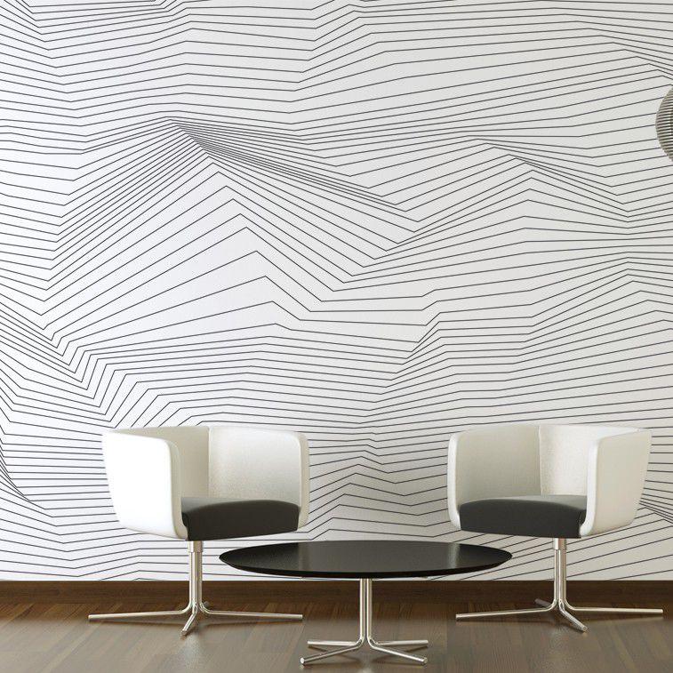 Papier peint contemporain / panoramique / noir / gris   CRISTAL