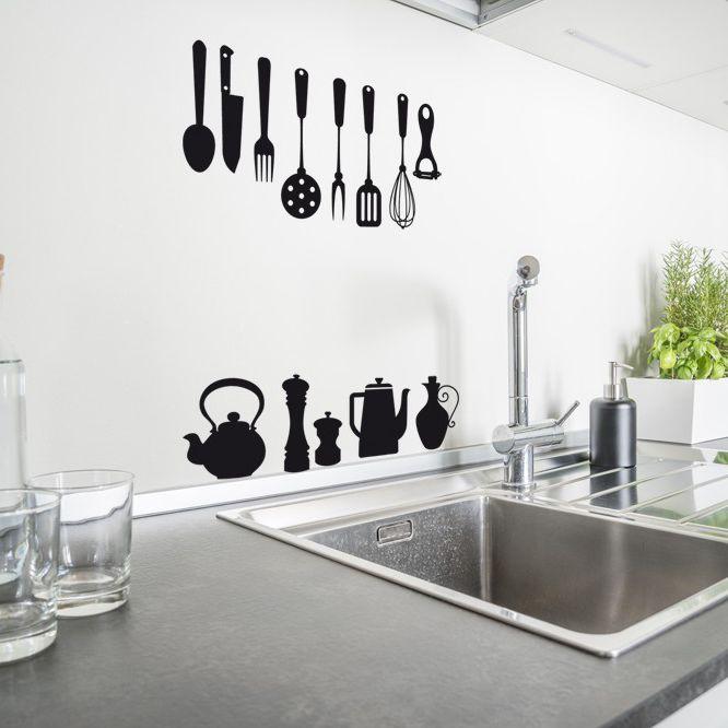 Sticker mural cuisine en vinyle ustensiles