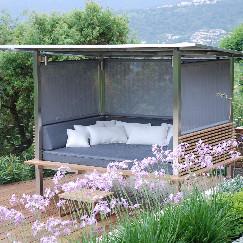 lit de jardin à baldaquin / double / contemporain / en batyline