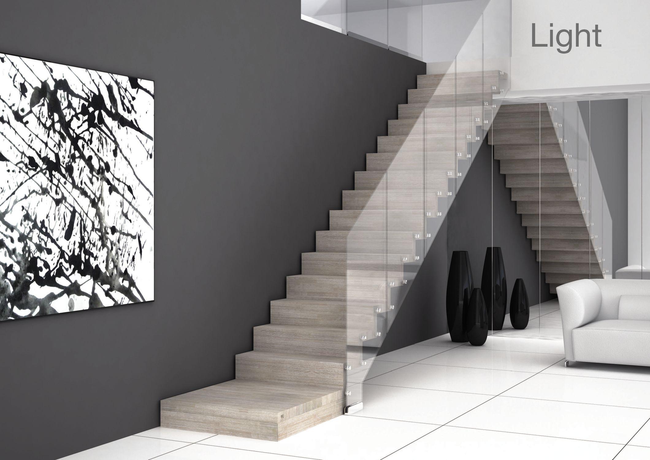 Escalier droit / marche en bois / marche en béton / avec ...