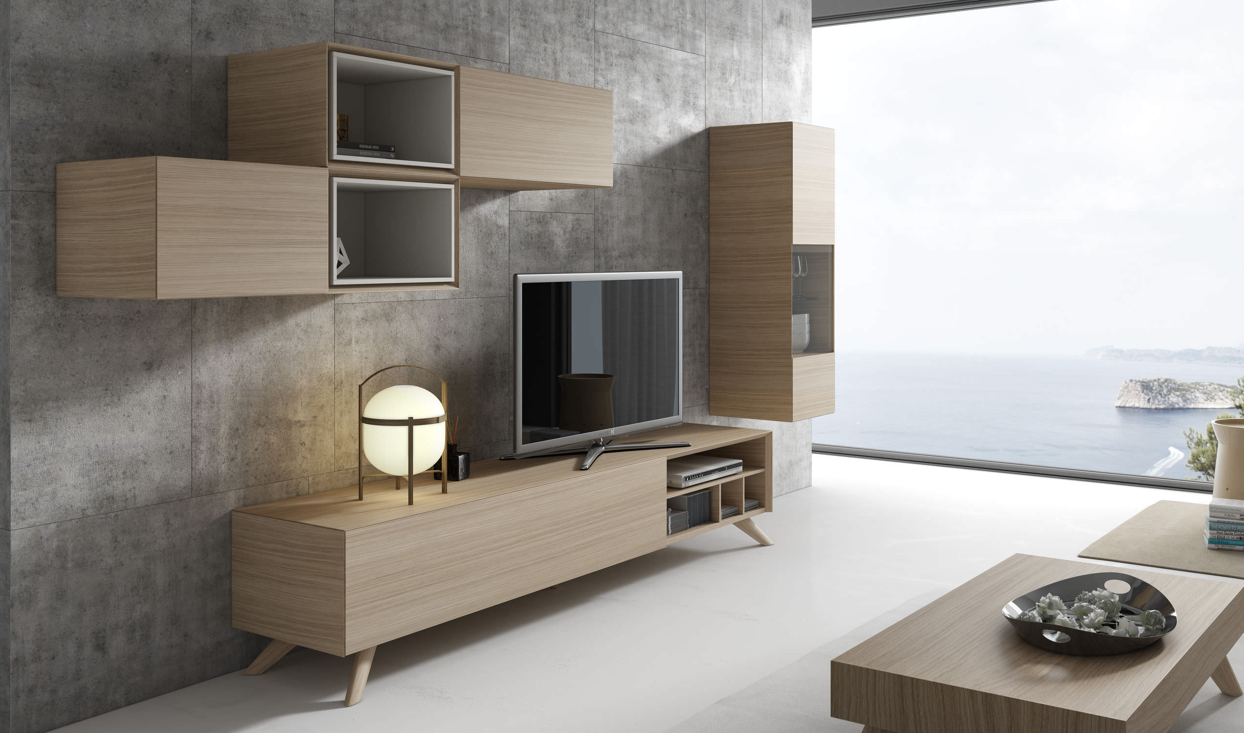 Ensemble Mural Tv Contemporain En Bois Ginza 309 A Brito # Meuble Modulable