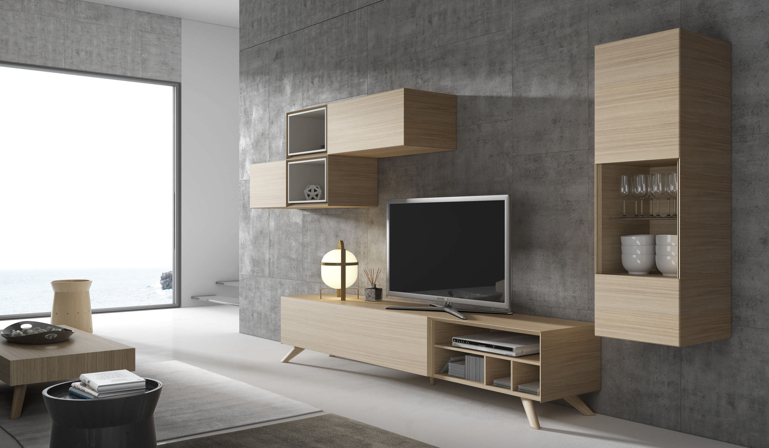 Ensemble Mural Tv Contemporain En Bois Ginza 309 A Brito # Meuble Modulable Tv