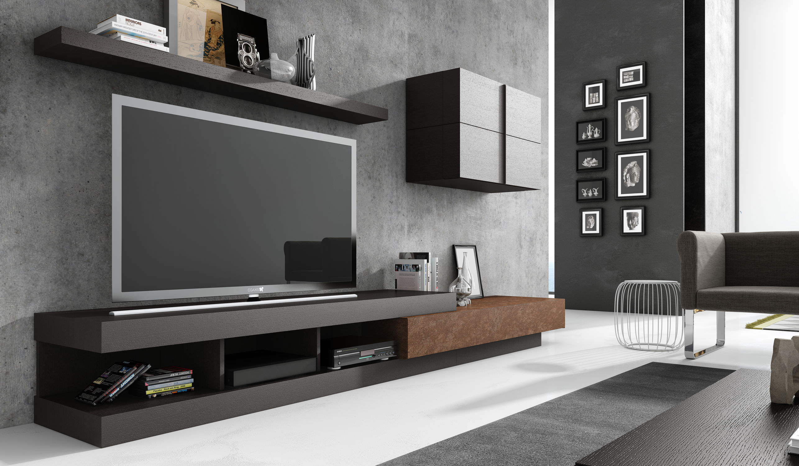 Ensemble Mural Tv Contemporain En Bois Laqu Modulable Ginza  # Meuble Modulable Tv