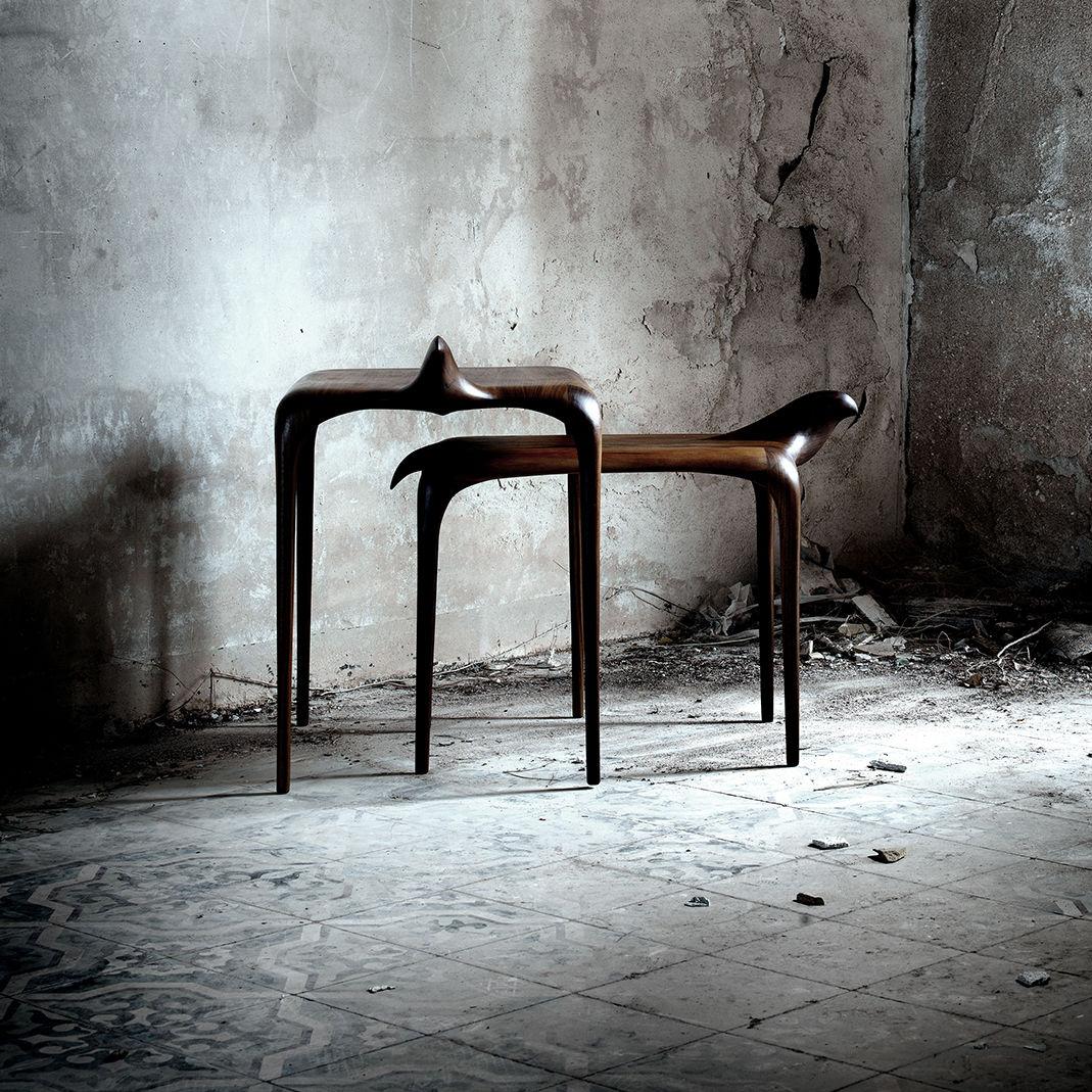 Table Gigogne Design Original En Chêne En Noyer En Frêne
