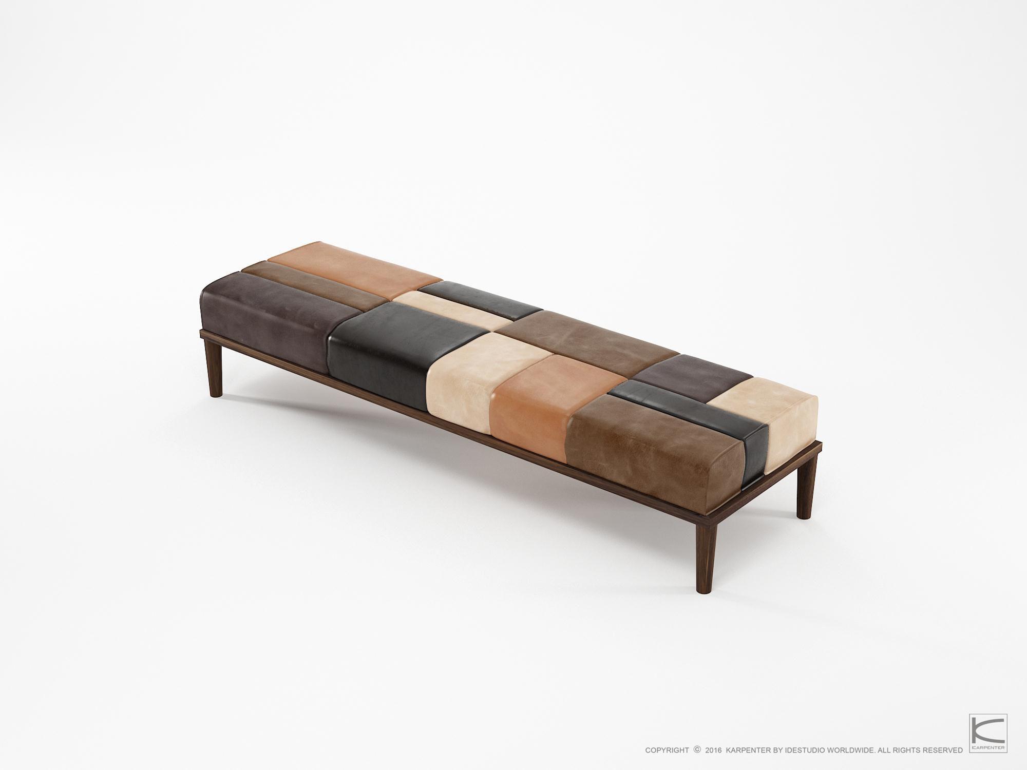 Banc contemporain / en bois massif / en cuir - KW02-W - Karpenter