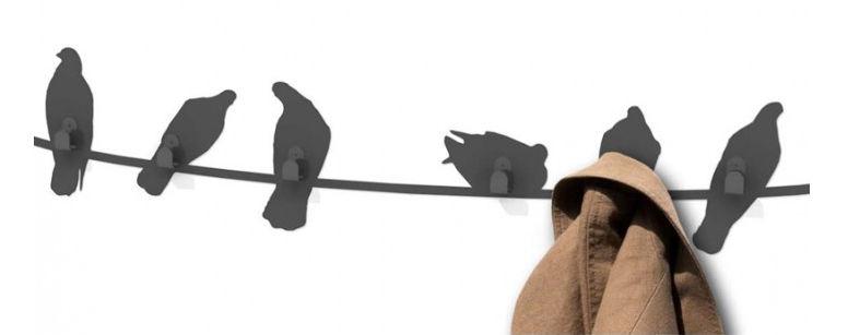 porte-manteau mural / design original / en acier à revêtement par
