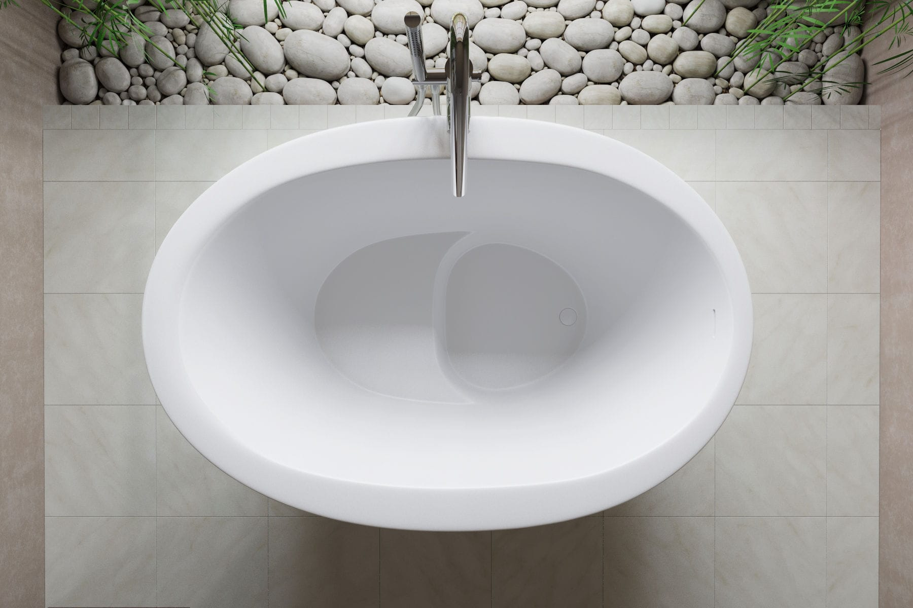 Baignoire En Lot Ovale En Solid Surface En Pierre True