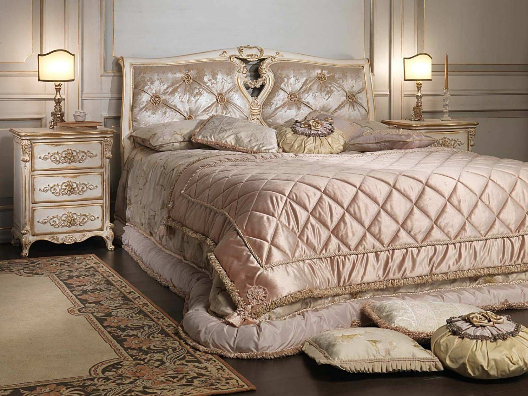 lit double / de style louis xvi / en bois - white and gold